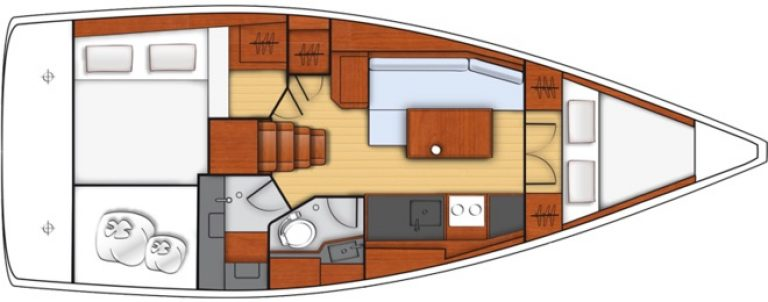 oceanis 35.1 plan 2 cabine