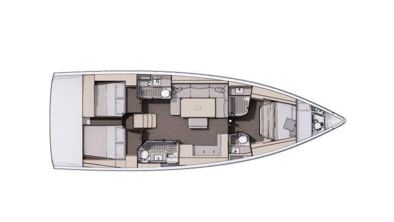 Plan Aménagement 2 - 3 cabines, 3 salles d'eau