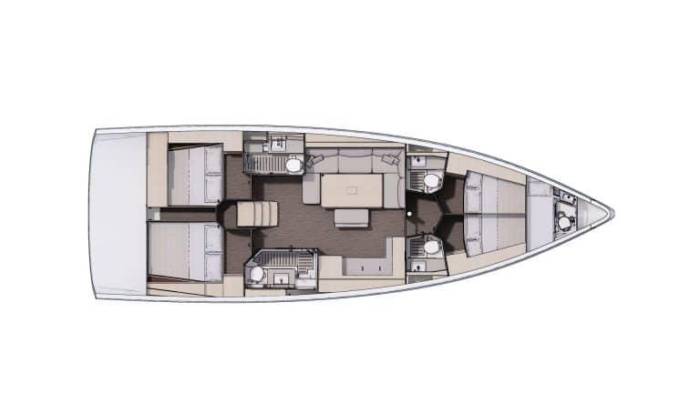 Plan Aménagement 4 - 4 cabines, 4 salles d'eau