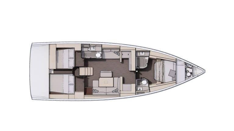Plan Aménagement 1 - 3 cabines, 2 salles d'eau