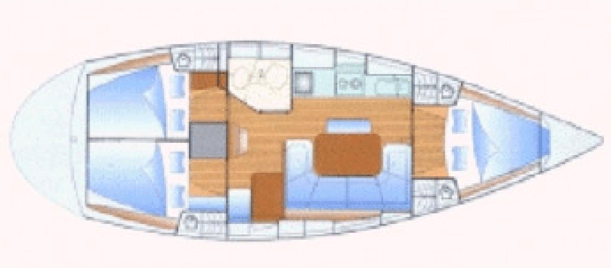 Bavaria 37 cruiser plan 3 cabines