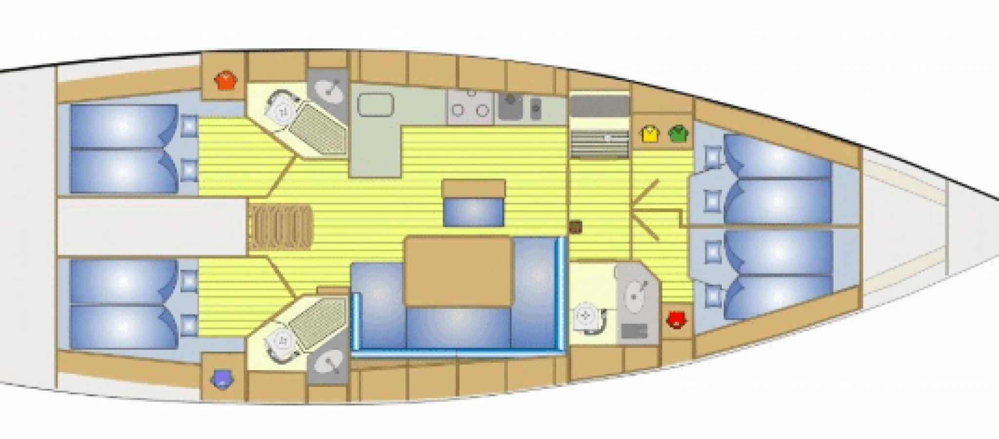Bavaria 46 cruiser plan 4 cabines