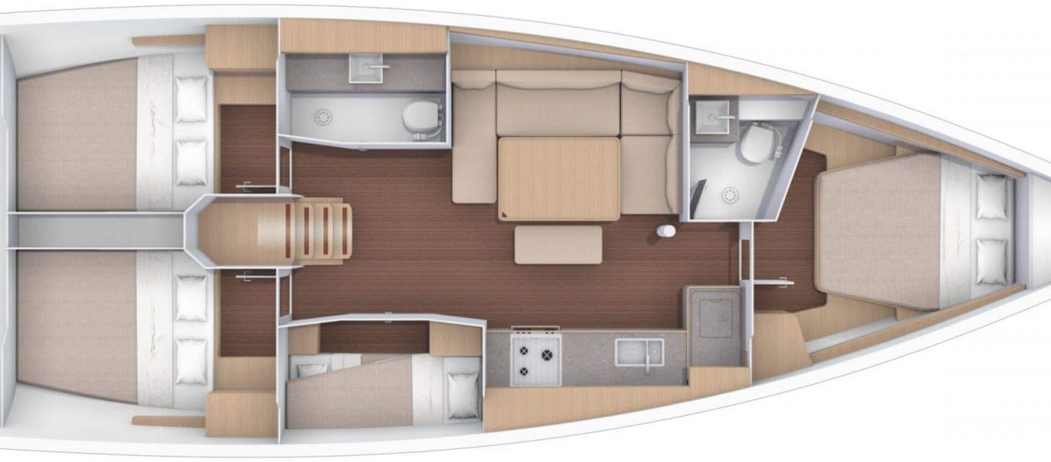 Dufour 430 plan 4 cabines