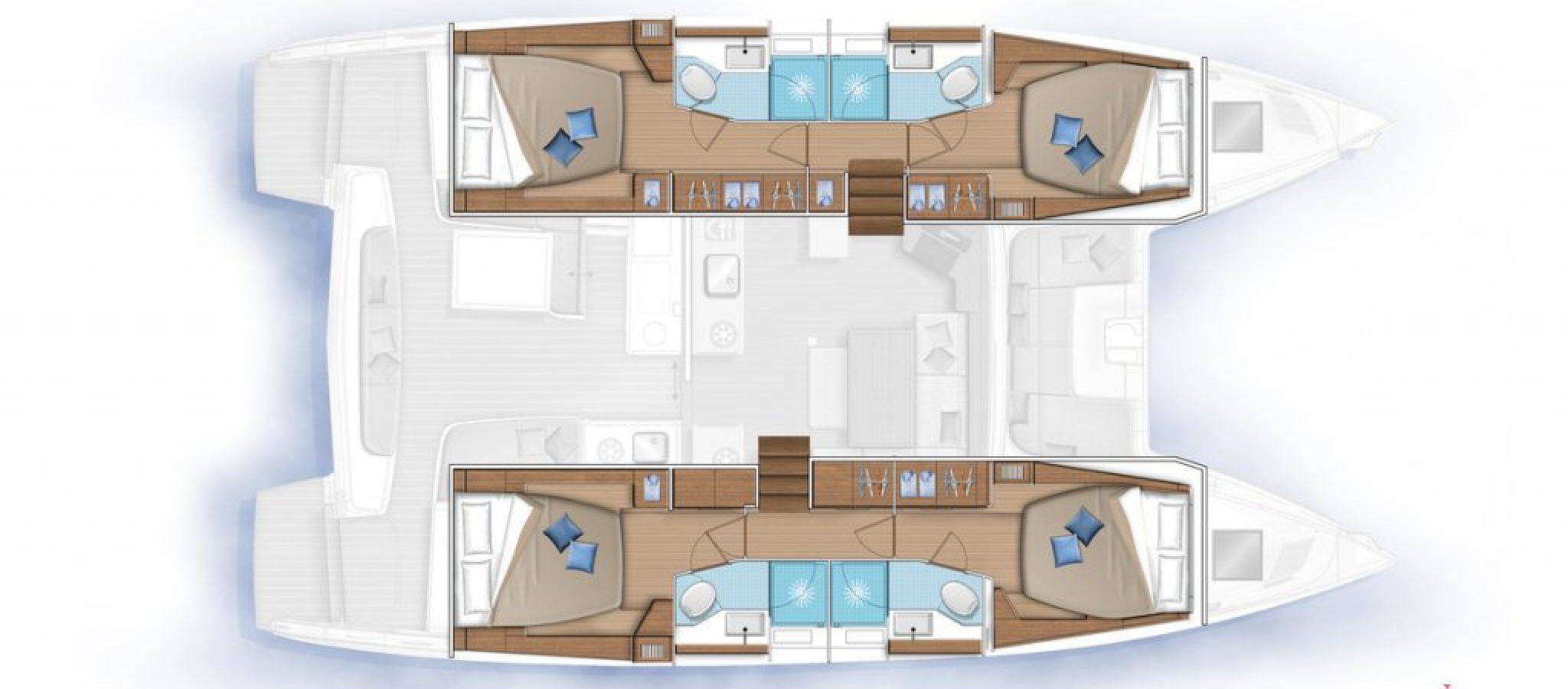 Lagoon 46 plan 4 cabines
