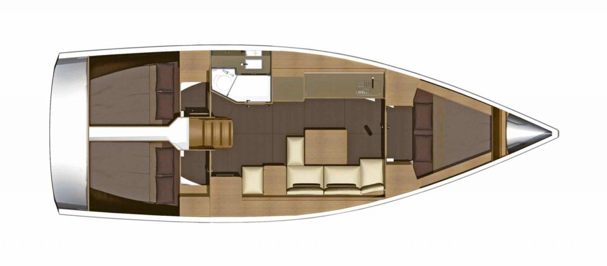 Location bateau Dufour 382GL Plan 3 cabines