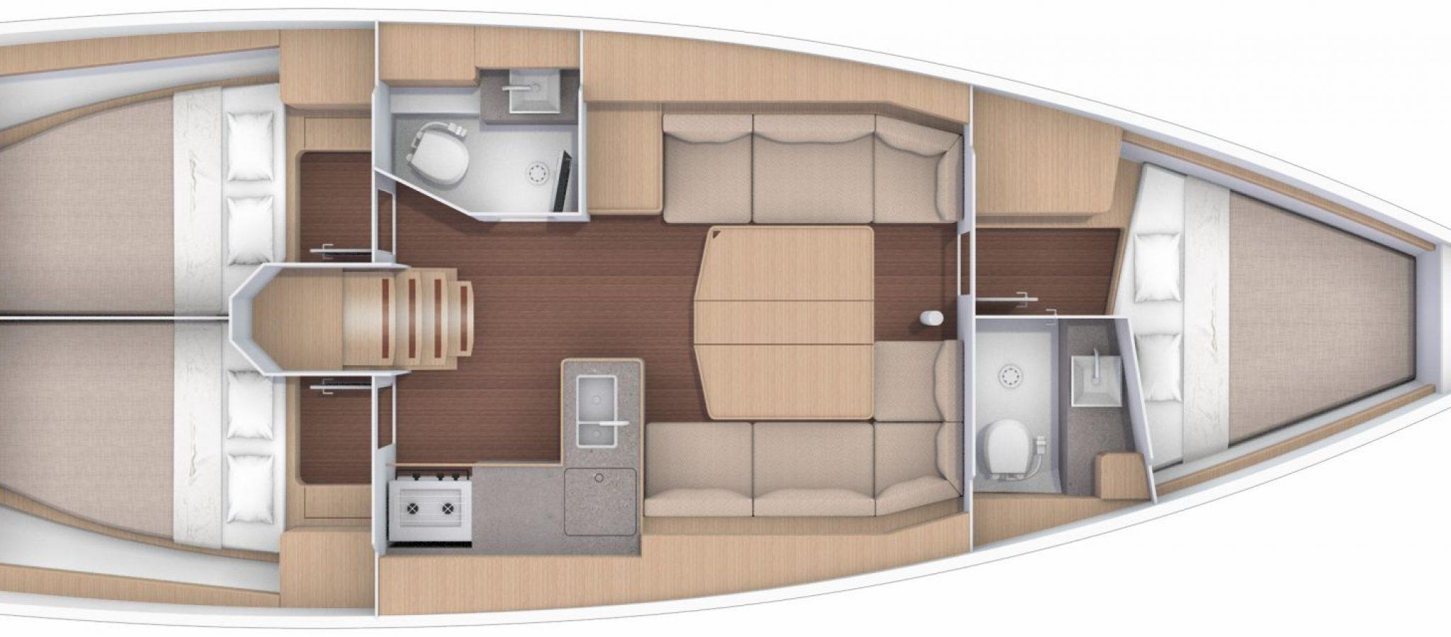 Location voilier Dufour 390GL plan 3 cabines
