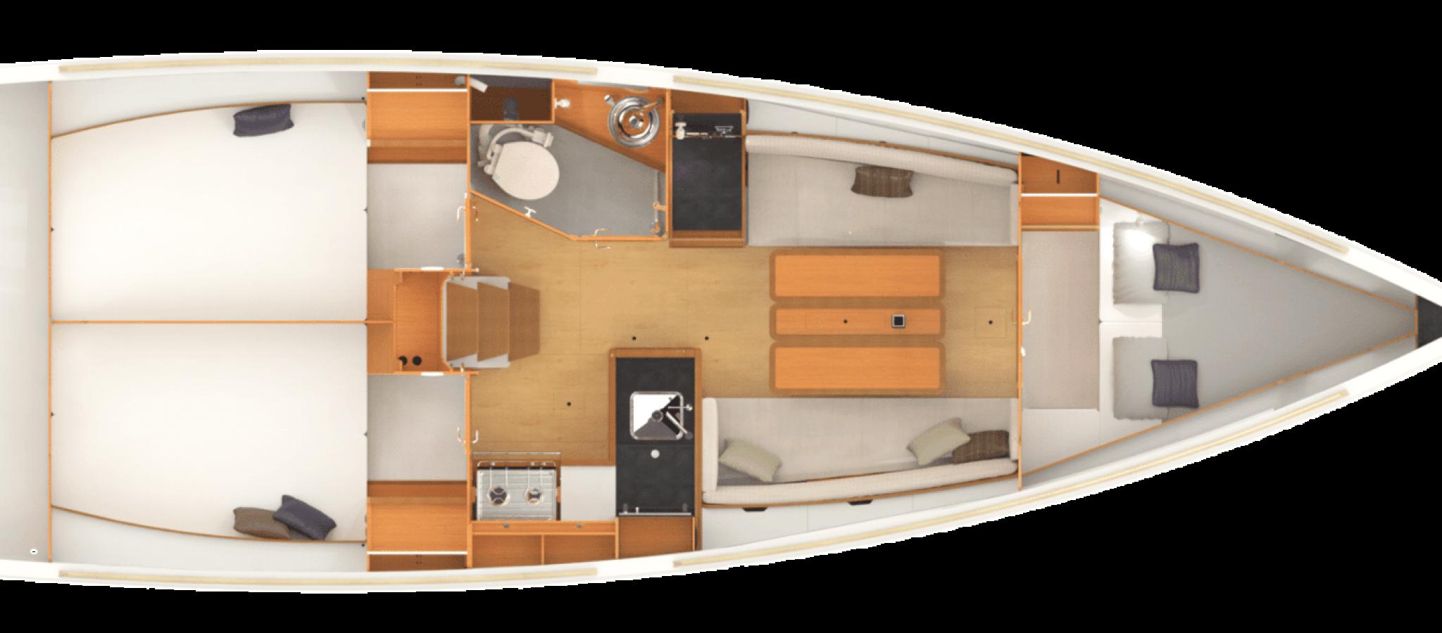 Sun Odyssey 349 plan 3 cabines