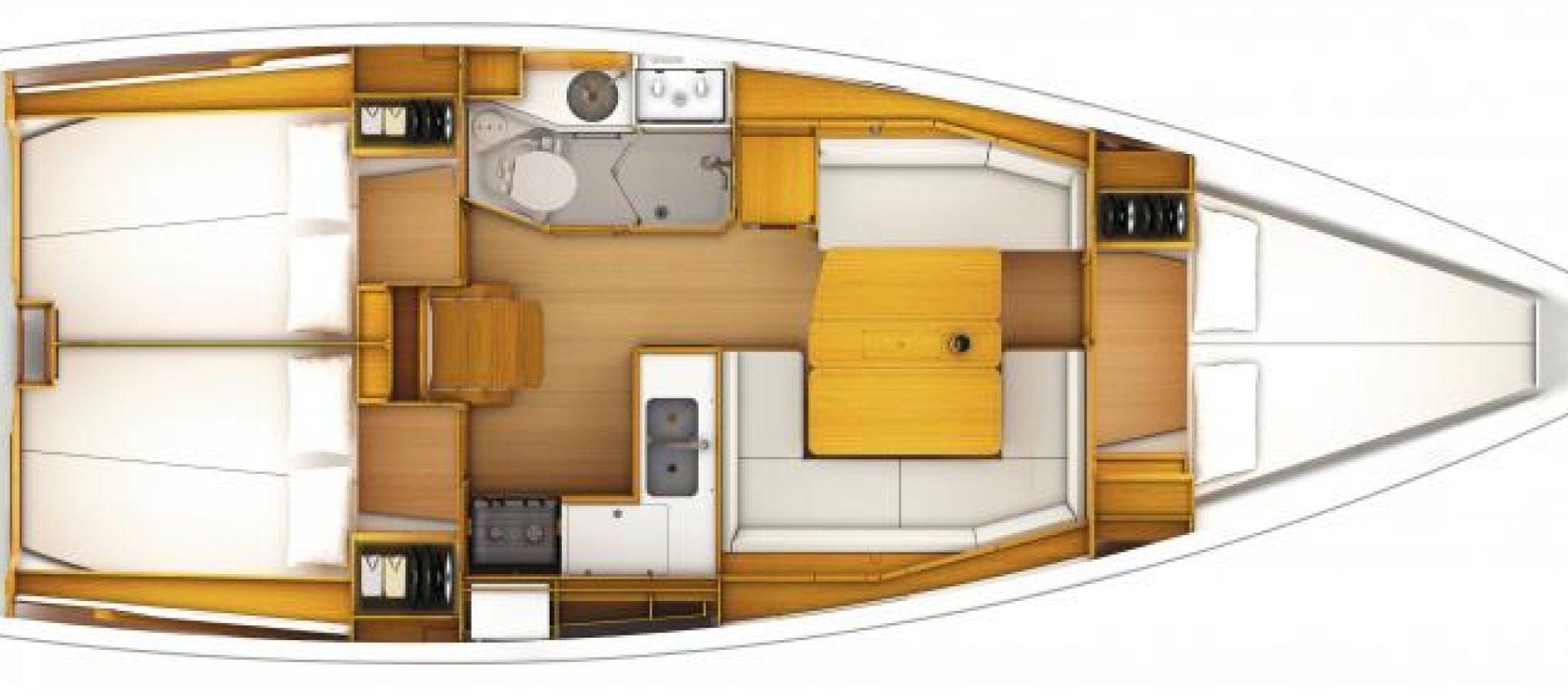 Sun Odyssey 379 plan 3 cabines