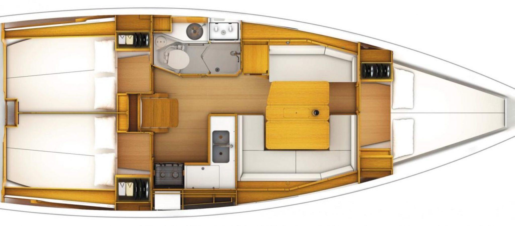 Sun Odyssey 389 plan 3 cabines