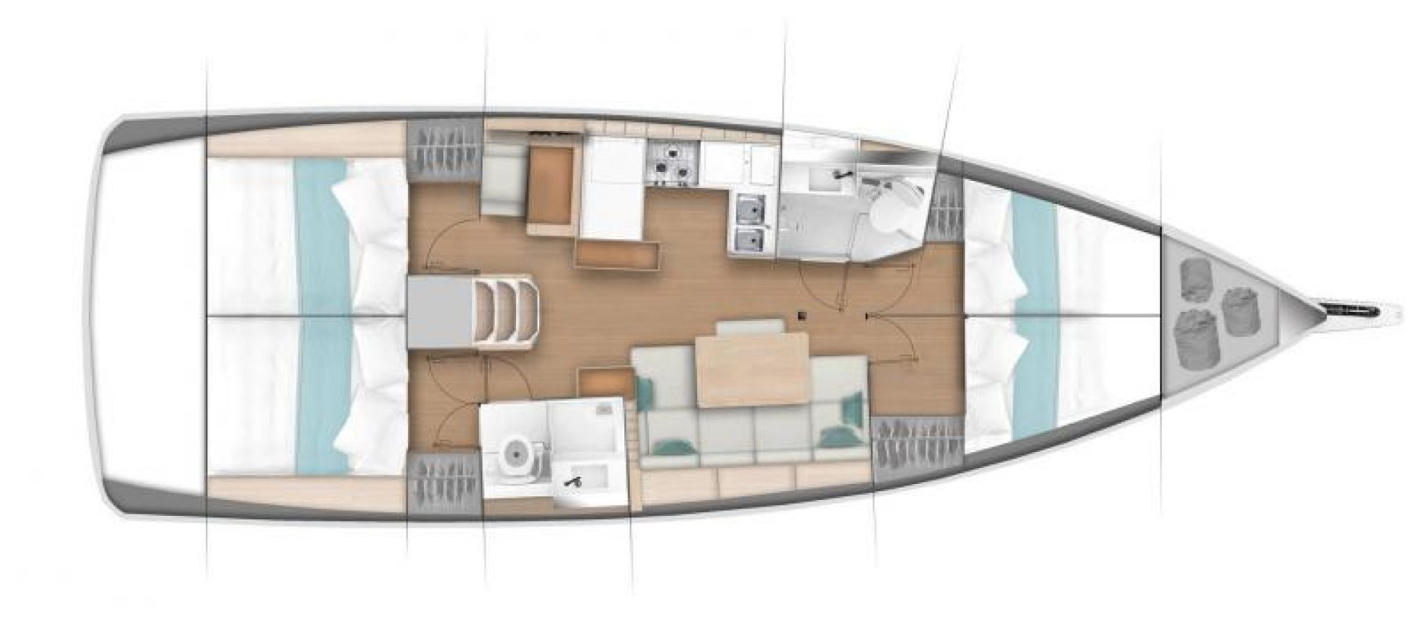 Sun Odyssey 440 plan 4 cabines
