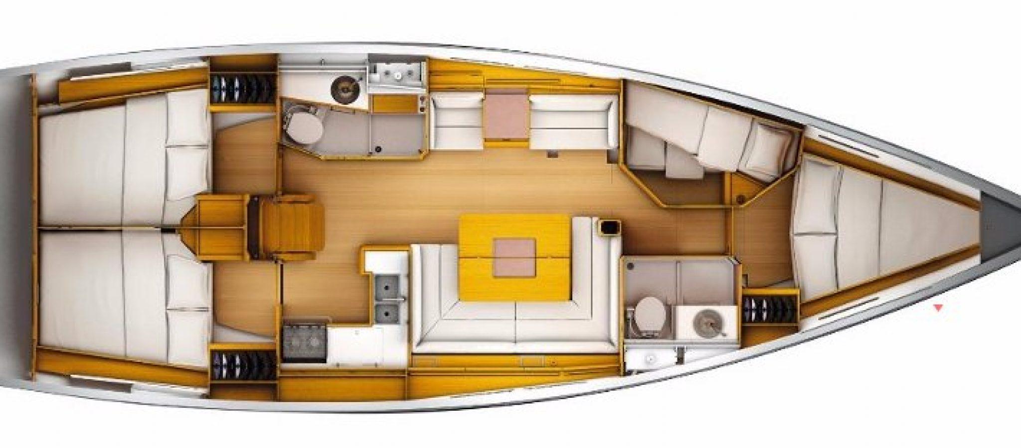 Sun Odyssey 449 plan 4 cabines