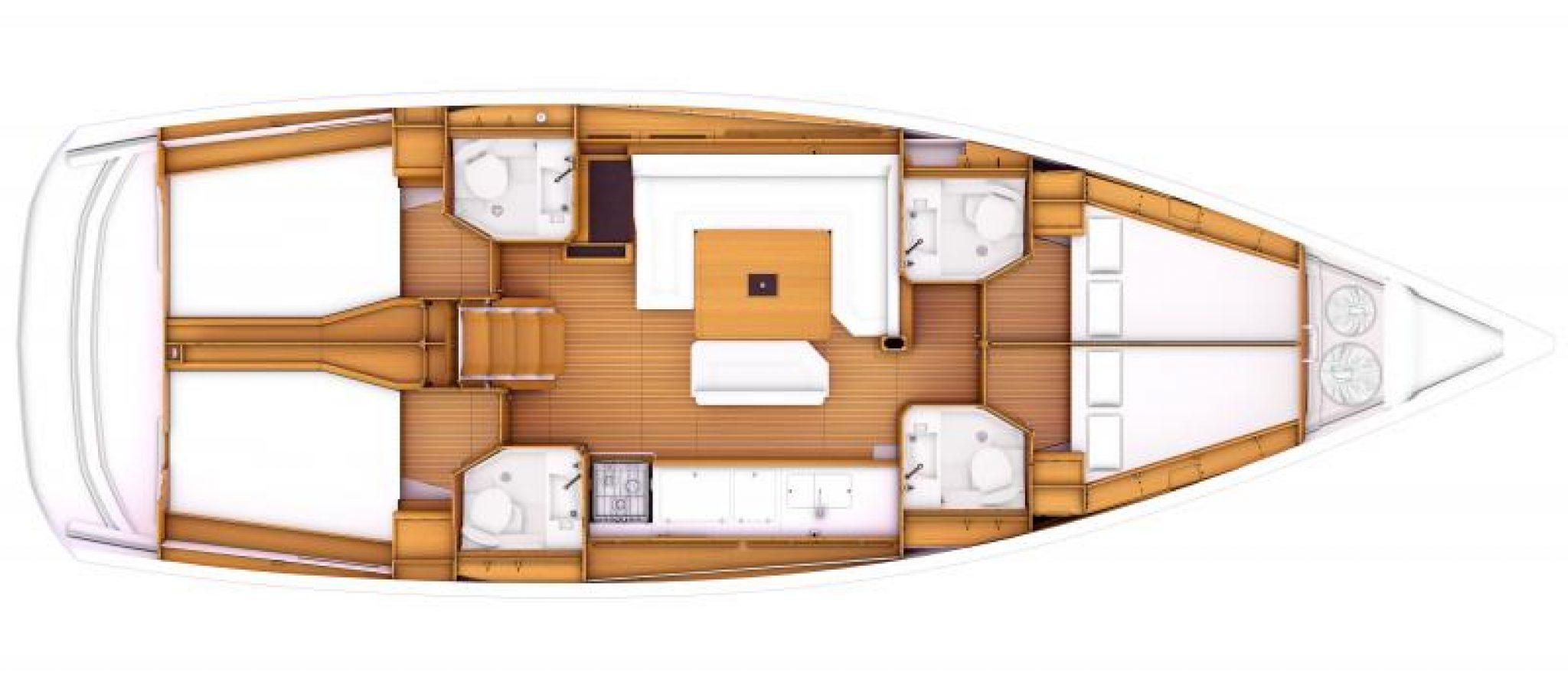 Sun Odyssey 469 plan 4 cabines