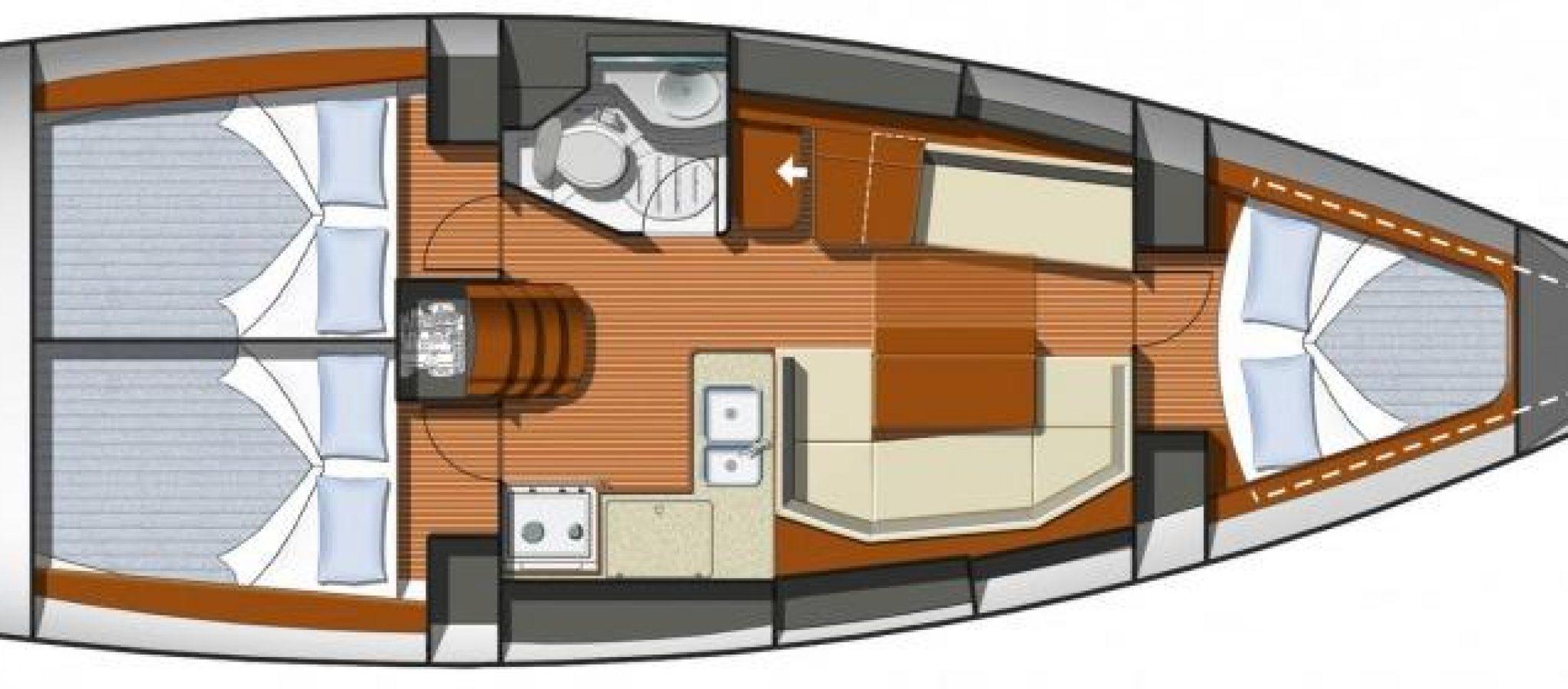 sun Odyssey 36i plan 3 cabines